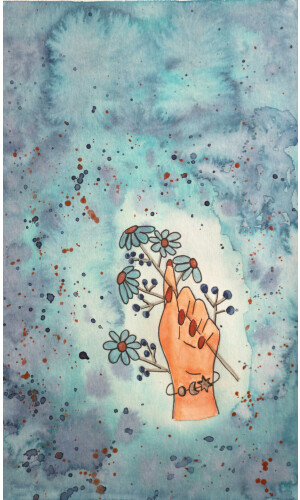 Turquoise flower hand